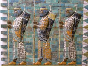 Persian Warriors at the Ishtar Gate, from before the fourth century BCE. Pergamon Museum/Vorderasiatisches Museum, Berlin. Photo Mohammed Shamma (2003). Used under CC-BY terms. All rights reserved.