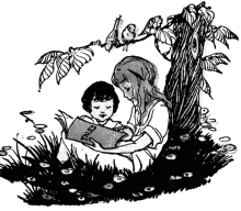 drawing of children reading