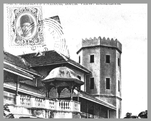 Postcard of the west (seaward) façade of the Residence in Zanzibar built for Alexander Rogers, Regent and First Minister, completed 1903, designed by John Sinclair. Courtesy of Terrence Royer, www.zanzibarhistory.org