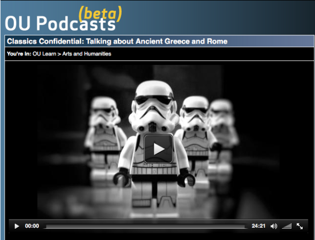 Screenshot of OU podcast channel - episode page for 'Star Wars and Classical Reception'