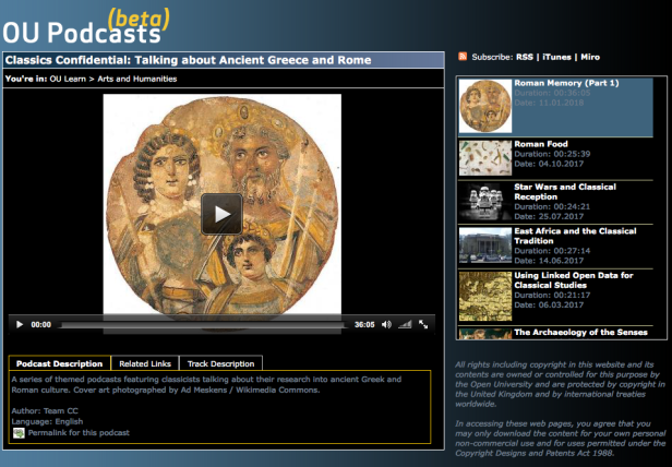 Roman Memory on the OU podcast site - a linked screenshot
