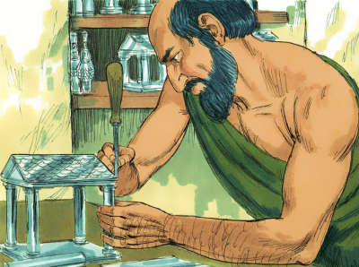Cartoon image of Demetrios of Ephesus making a silver temple model